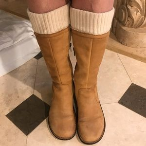 Uggs Tan Super Soft Leather & Cream knit Boots
